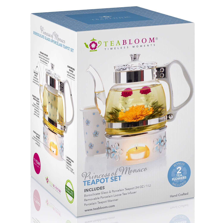 Teabloom Princess of Monaco Teapot & Blooming Tea Gift Set (6 Pieces) - Borosilicate Glass Teapot (34oz/1000ml), Porcelain Lid, Teapot Warmer, Porcelain Tea Infuser + 2 Berry Flowering Teas by Teabloom (Image #5)
