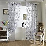 Hoomall Vorhang Transparent Gardinen Wohnzimmer Voile Dekoschal BH 100cm250cm Schwarz