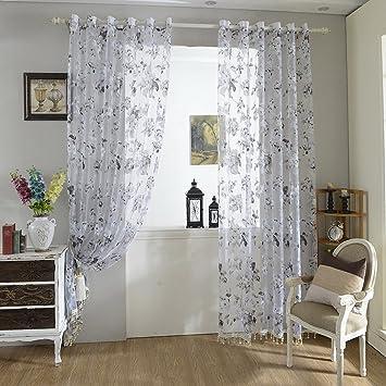 URIJK 250cmx100cm Transparent Gardine Blumen Muster Fenster ...