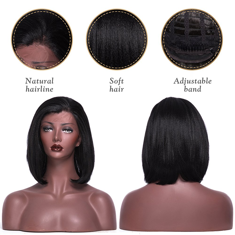 Amazon.com: Yaki recto Bob peluca Glueless Lace Front ...