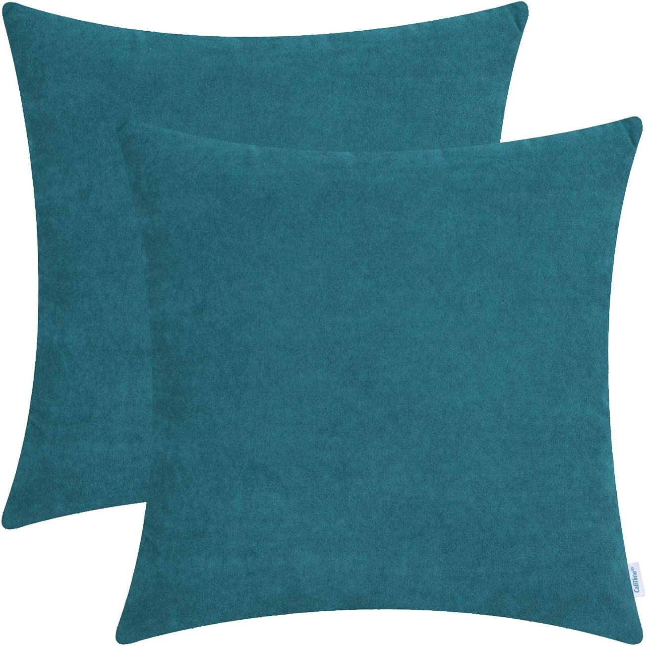 CaliTime Pack of 2 Cozy Throw Pillow Covers Cases for Couch Sofa Home Decoration Solid Dyed Soft Velvet 18 X 18 Inches Teal