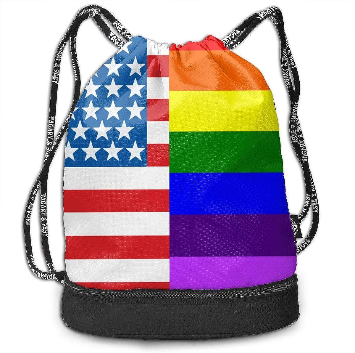 American LGBT Flag Drawstring Bag Multifunctional String Backpack Custom Cinch Backpack Sport Gym Sack