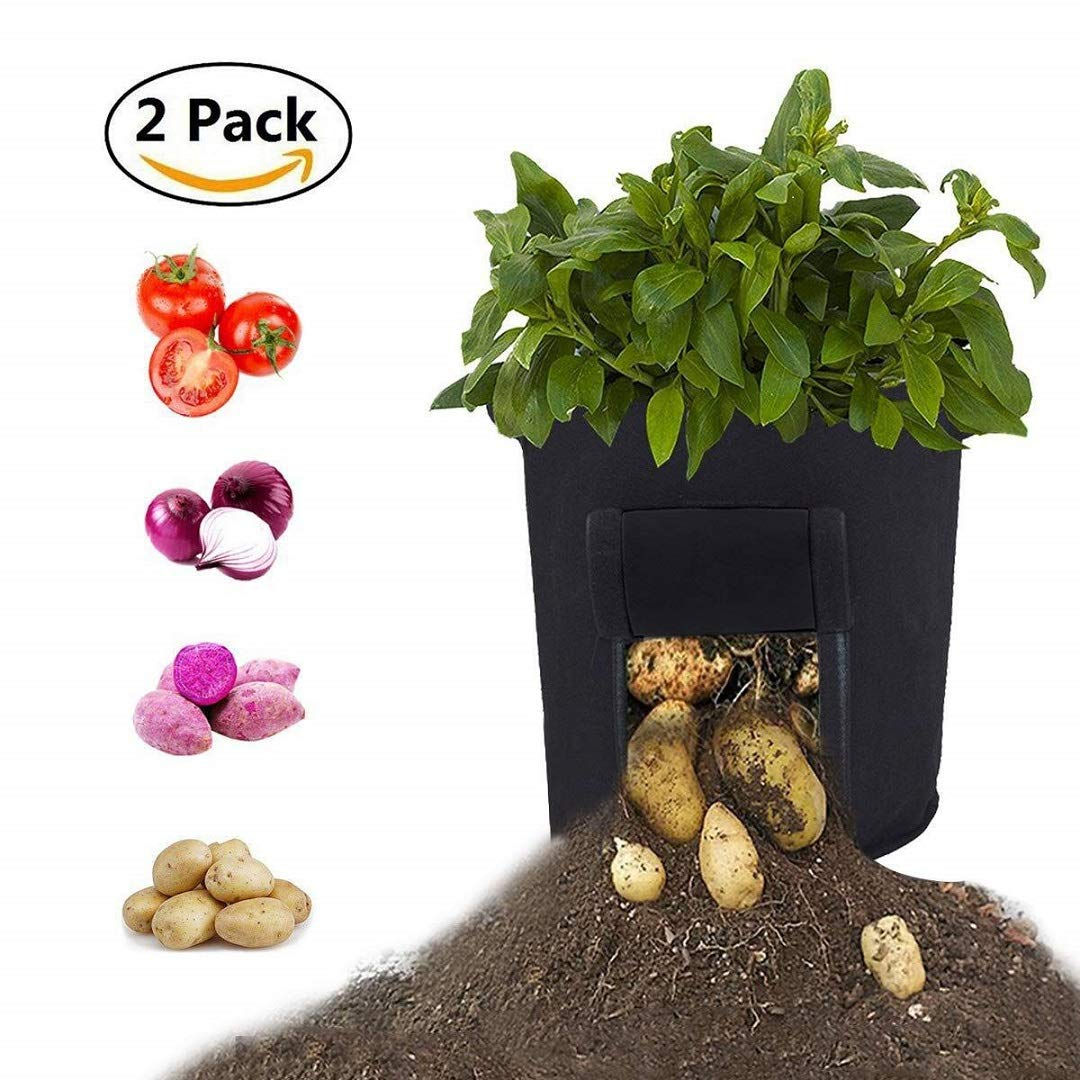 Bolsas de Cultivo de hortalizas para jard/ín Bolsa Maceta con Solapa Negro SXYHKJ Bolsas de Cultivo de Papa Paquete de 7 galones Bolsa de Cultivo//Ollas de Tela de aireaci/ón Plantas con manijas
