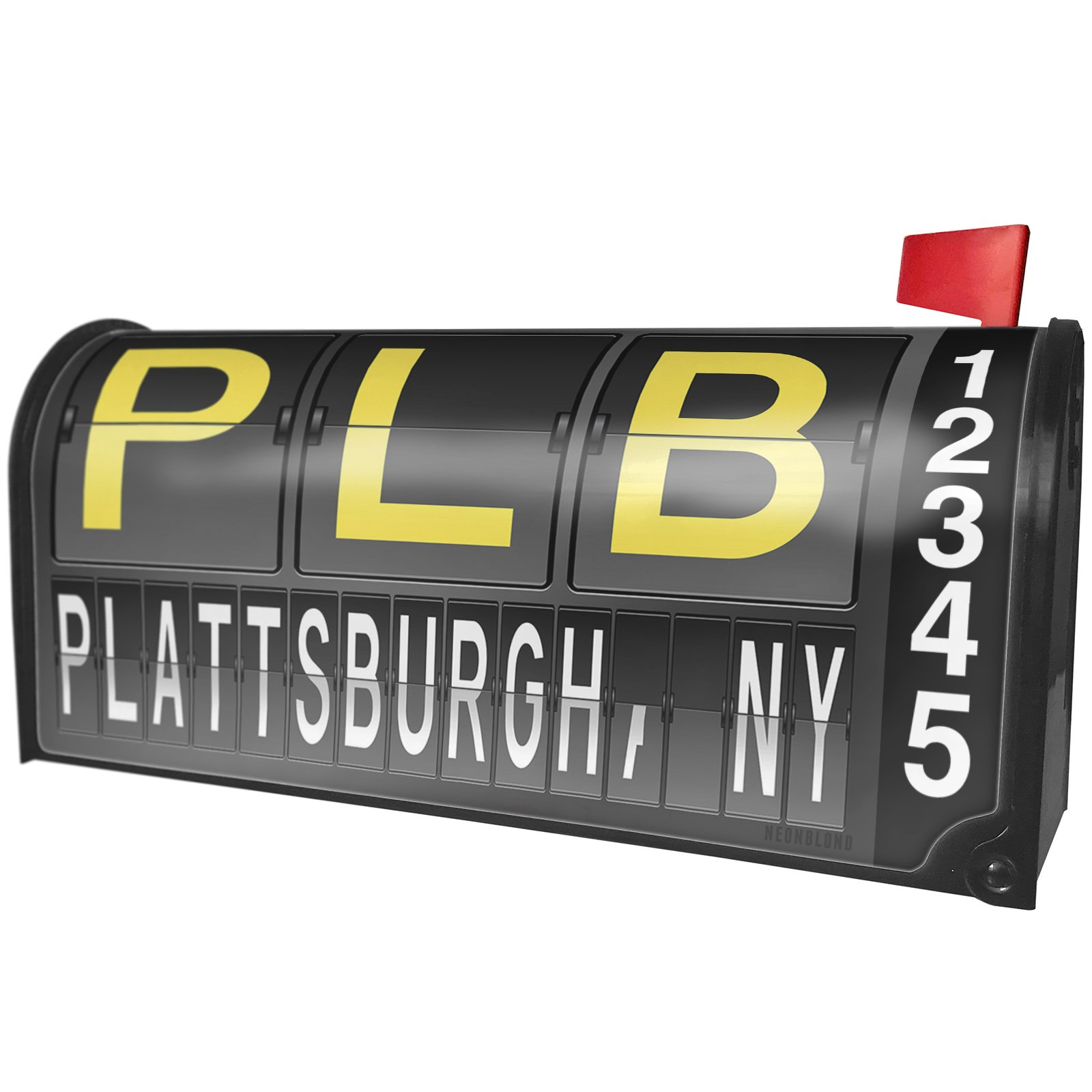 NEONBLOND PLB Airport Code for Plattsburgh, NY Magnetic Mailbox Cover Custom Numbers