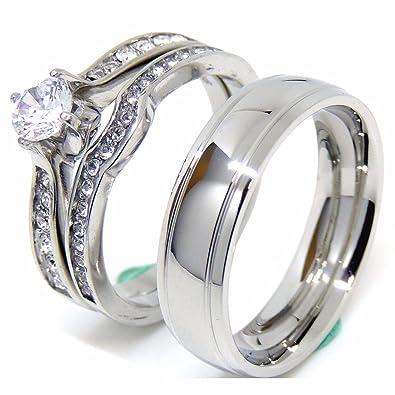 d6b0566a50f Amazon.com: Lanyjewelry Couple Rings Set Womens 5x5mm Round Cut CZ ...