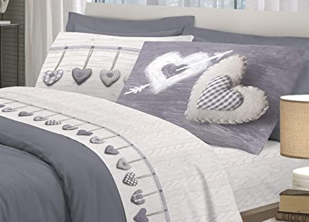 Biancheriaweb - Juego de sábanas de 100 % algodón, diseño de corazones colgantes para cama de matrimonio, color gris: Amazon.es: Jardín