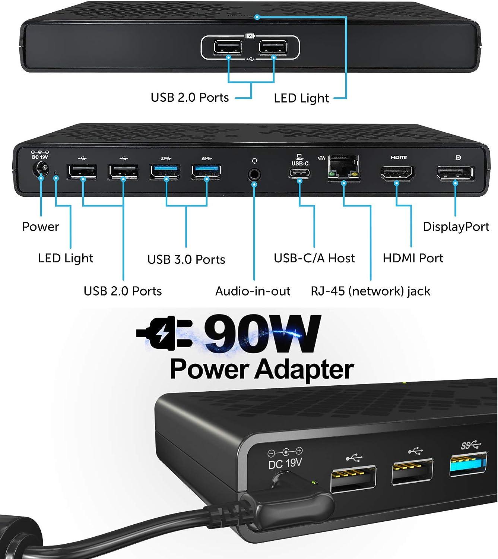 Gigabit Ethernet 6X USB DisplayPort Audio//Mic for Mac /& Windows OS mediaGear Dual Display USB C Docking Station w// 70W Power Delivery Ports: HDMI