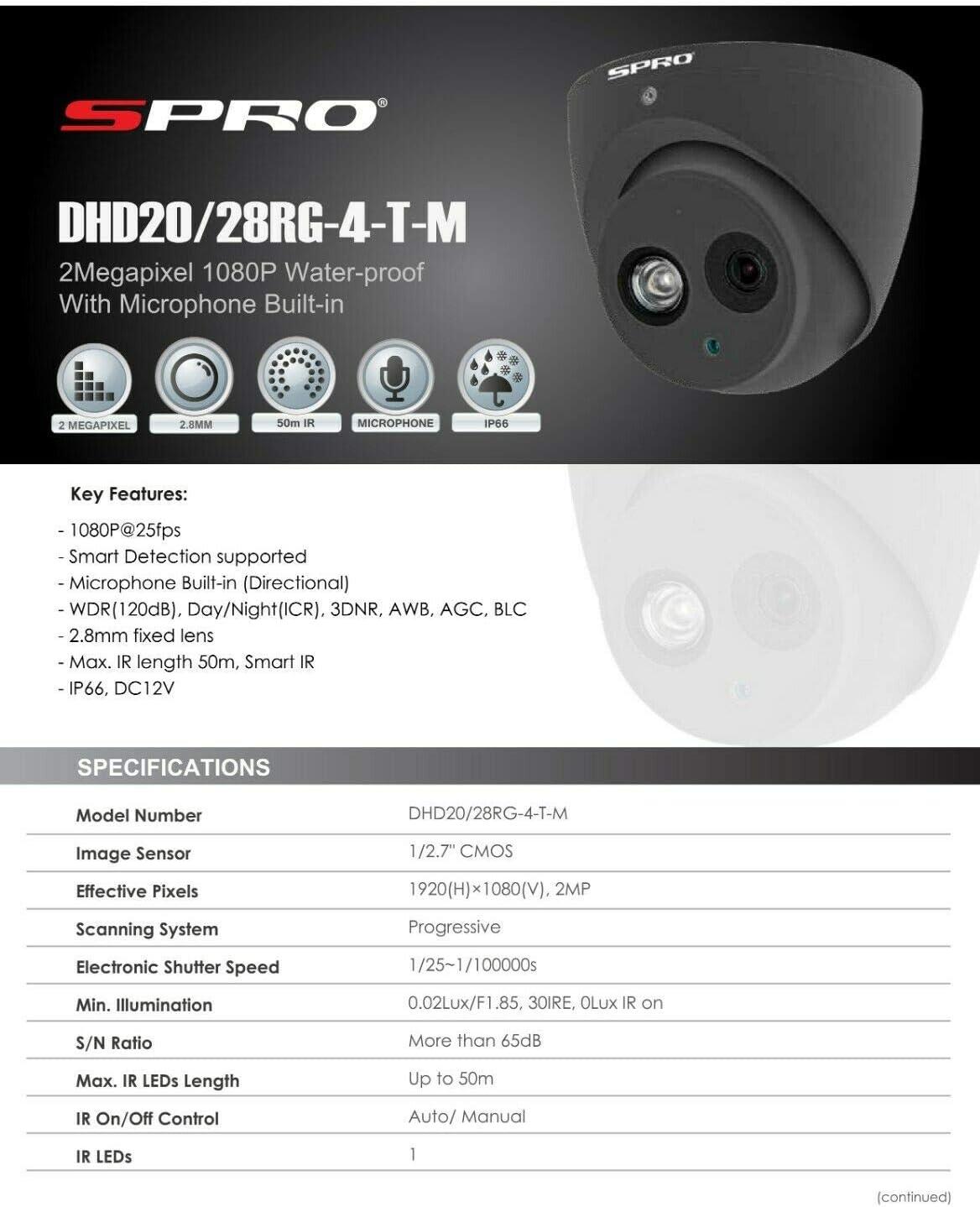 CCTV SYSTEM 4CH DVR 2X CAMERA 2MP OUTDOOR AUDIO MIC 50M STARLIGHT NIGHT VISION SPRO 1TB HDD