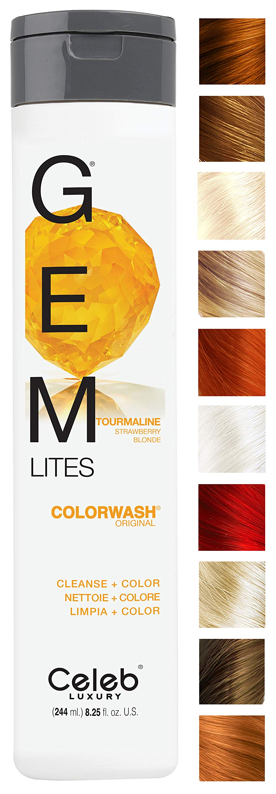 Celeb Luxury Gem Lites Colorwash: Tourmaline Strawberry Blonde, Color Depositing Shampoo, 10 Traditional Colors, Stops Fade in 1 Quick Wash, Cleanse + Color, Sulfate-Free, Cruelty-Free, 100% Vegan by CELEB LUXURY