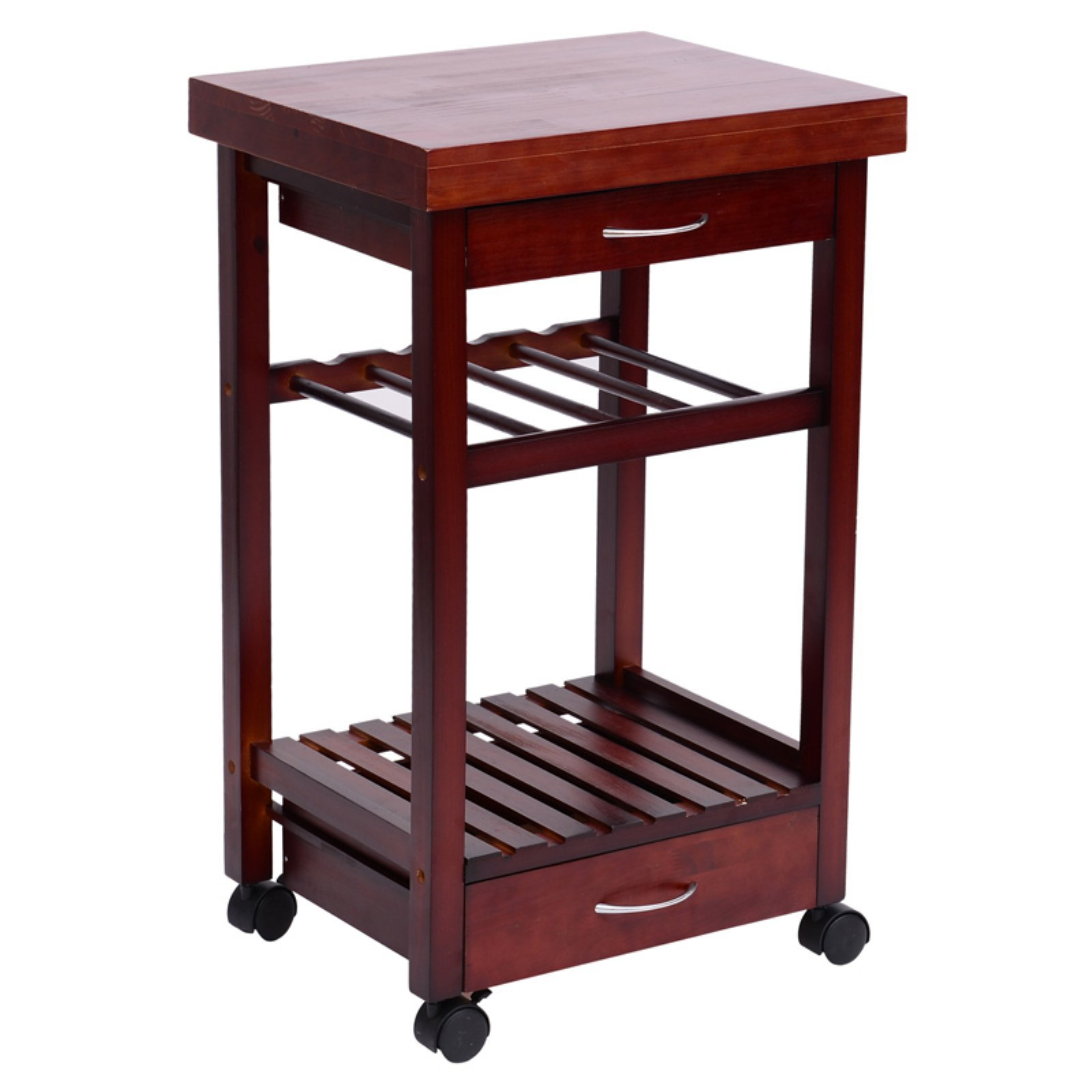 Excellent 19 Inches Rolling Wooden Storage Cart Kitchen Trolley with Drawers and Wine Rack, Ideal for Smaller Areas, Gives Extra Storage Space Without Sacrificing Style + Expert Guide