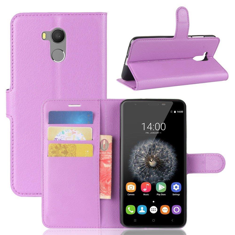 Guran® Funda de Cuero PU Para Oukitel U15 Pro Smartphone Función de Soporte con Ranura para Tarjetas Flip Case Cover Caso-púrpura Oukitel U15 Pro-8