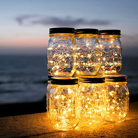 Solar Mason Jar Light - ELINKUME® 20 LED Solar Lights Impermeable Garden Hanging Lights Luces