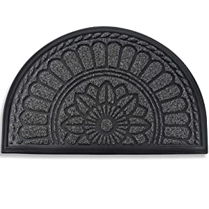 "Mibao Half Round Door Mat, Non-Slip Welcome Entrance Way Rug, Durable Low-Profile Easy to Clean Front Outdoor Heavy Duty Doormat, 24"" x 36"", Coffee"