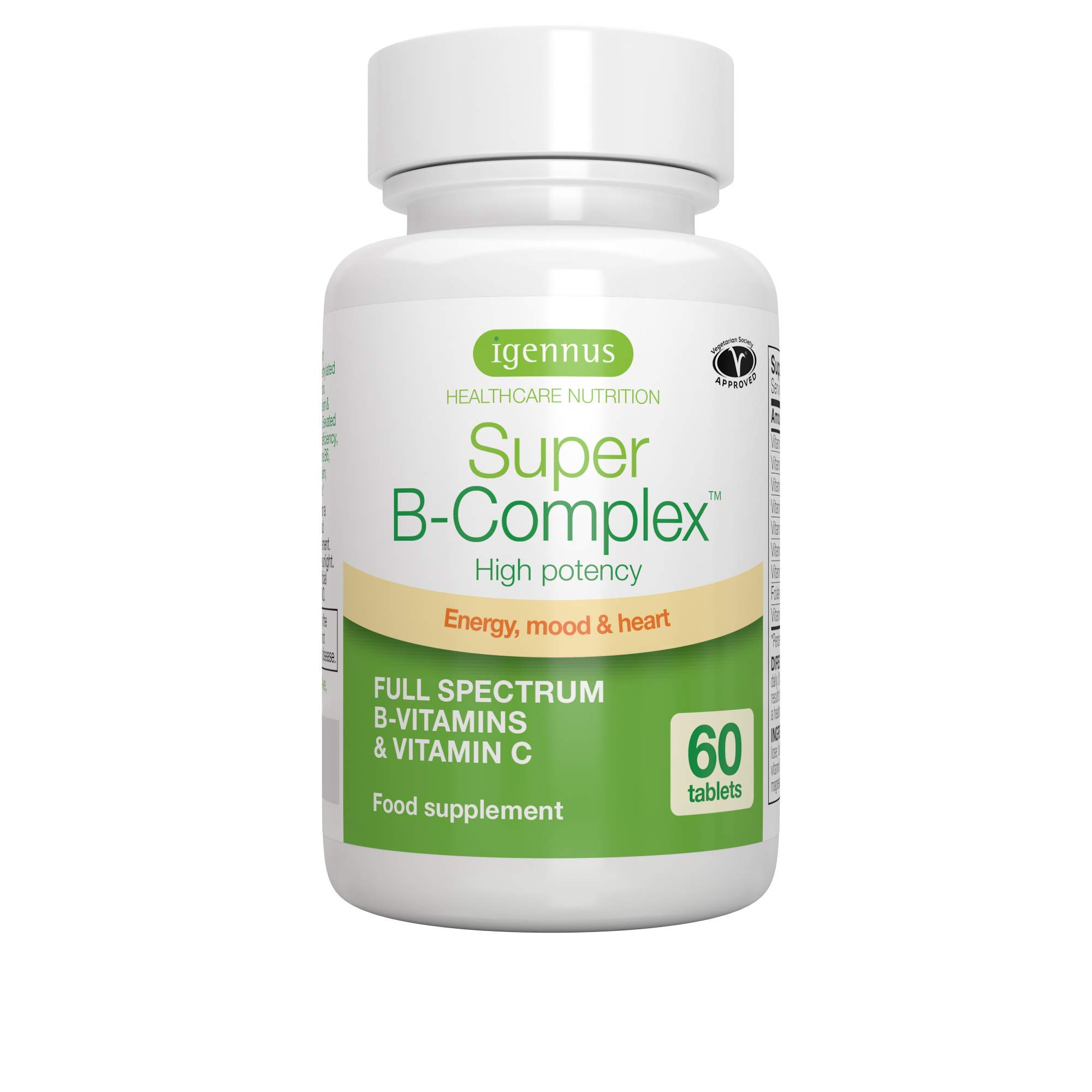 Super B-Complex - Methylated B Complex Vitamins, Folate & Methylcobalamin, Vegan, 60 small tablets by Igennus Healthcare Nutrition