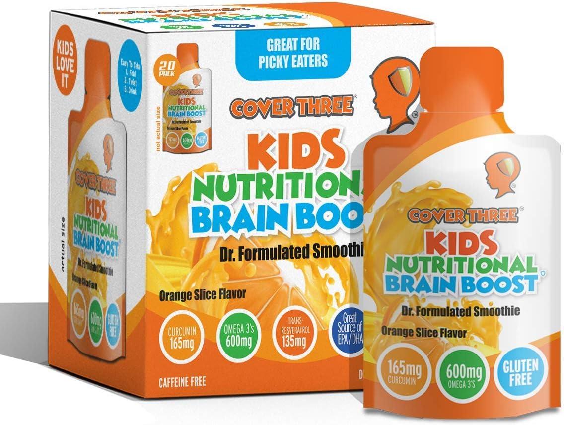 Amazon Com Kids Nutritional Brain Supplement Boost Child Memory Focus Calmness Support Brain Immune Vision Heart Health Omega Fish Oil Dha Vitamin C Turmeric Resveratrol Liquid Squeeze Pouch Health