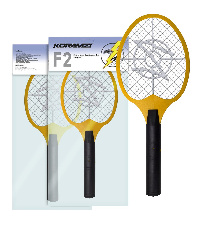 Koramzi Bug Zapper Racket Fly Swatter Mosquito Killer, Zap Mosquito Best for indoor and Outdoor Pest Control F2 (Yellow)