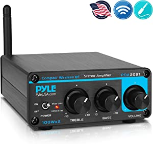 Bluetooth HiFi Mini Audio Amplifier - Class D Digital Desktop PC Stereo Amplifier Receiver (2 x 100 Watt MAX) Aluminum Diecast- Pyle PDA20BT