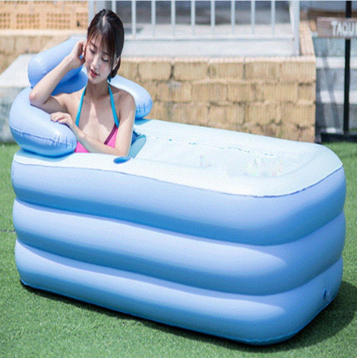 INFT Gefaltete Aufblasbare Badewanne Familie Erwachsene Badewanne Abnehmbare Kinder Badewanne,LargeBlau-ClipCottonBottom