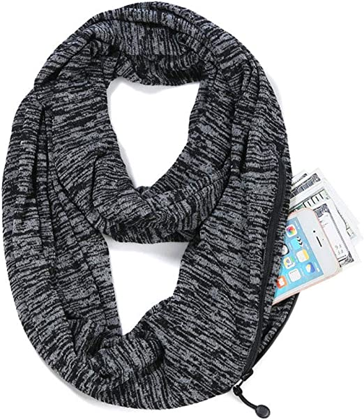 Lanmei Infinity Scarf with Hidden Zipper Pocket for Women Girls Soft Stretchy Convertible Pocket Scarf