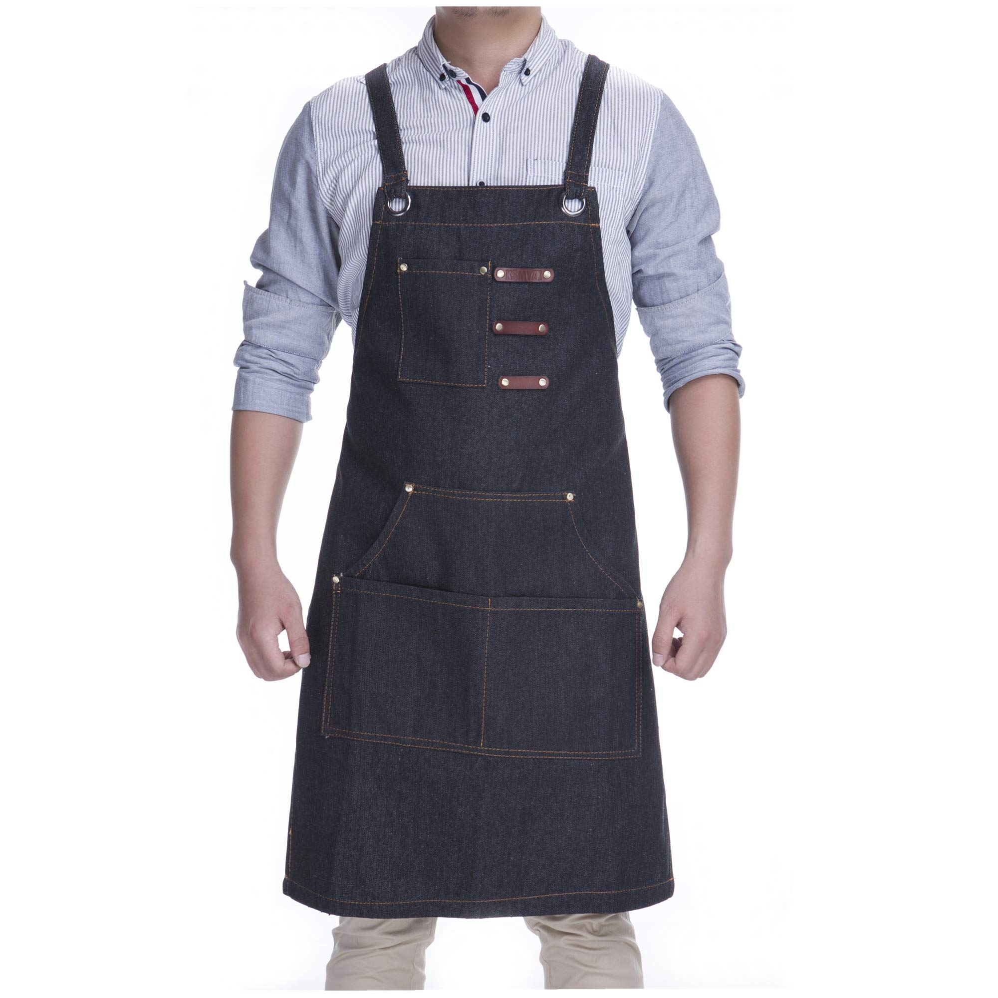 KSMYZX Durable Goods - Heavy Duty Multi-Pocket Black, Gray, Black Denim Multi-Purpose Apron, S-XXL Full-Size Cross Strap, Cafe, Restaurant, Barbecue, Workshop, Hairdresser, Woodwork, Safety Large Stor