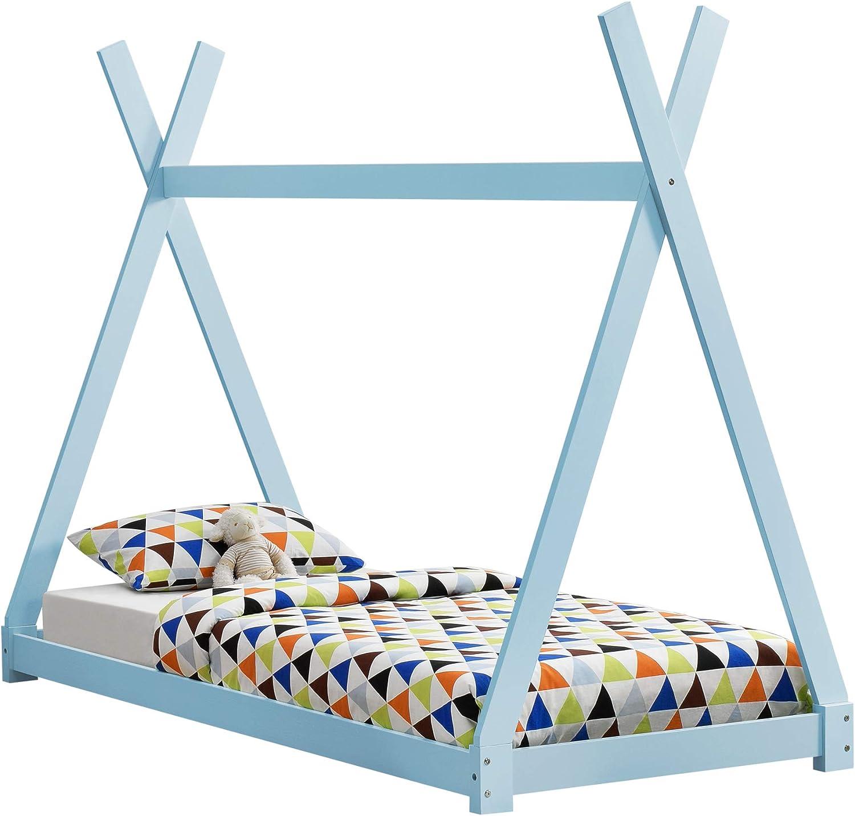[en.casa] Cama para niños pequeños - Cama Infantil - 200x90cm - Estructura Tipi de Madera Pino - Azul