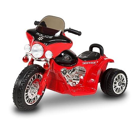 LT 846 Moto eléctrica para niños POLICE tres ruedas 6V sonidos realistas y luces (Rojo