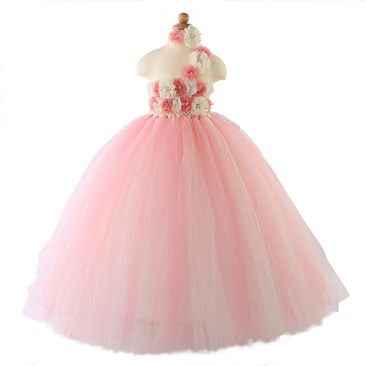 1efb2d2f6be Nirmalayam Collections Party wear Long Gowns for Kids Girls Baby Girls Birthday  Dress with Light and Dark Pink Flowers Around The Neck.