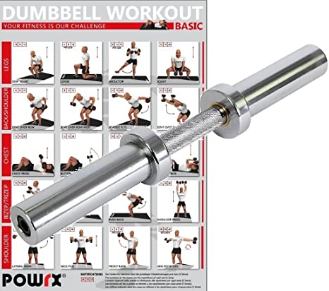 POWRX - Barra corta de mancuerna cromada - Incluye PDF Workout I ...