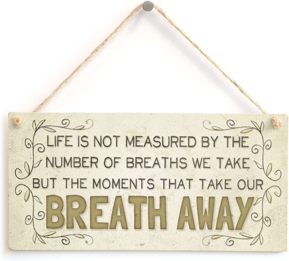 """Meijiafei Life is not Measured by The Number of Breaths we take but The Moments That take Our Breath Away - Beautiful Home Accessory Gift Sign 10""""x5"""""""