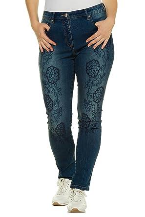 e6278b4dfd7 Ulla Popken Women s Plus Size Floral Embroidered Skinny Jeans Denim Blue 36  715015 92-62