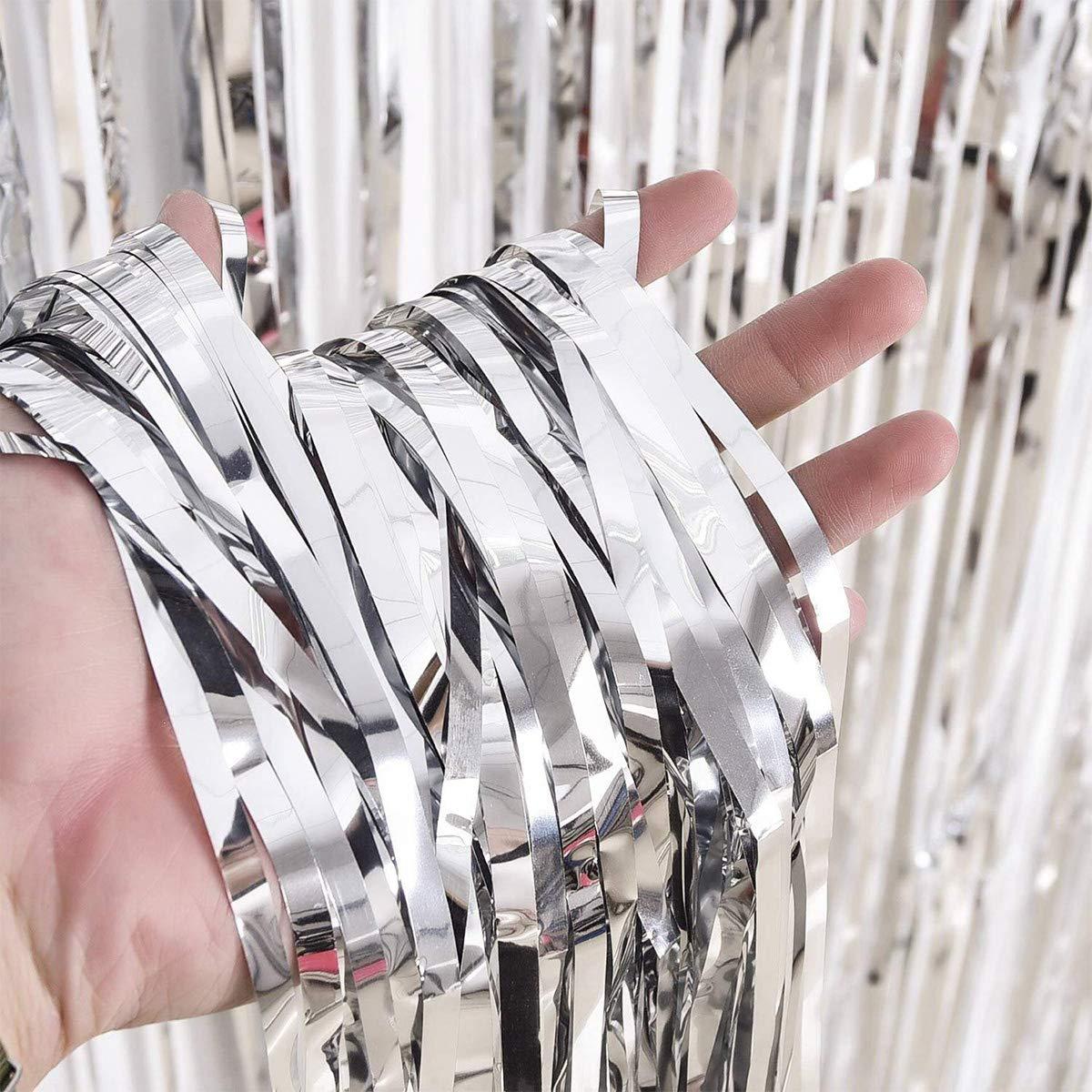 Aluminio Flecos Cortina para Boda Cumplea/ños Fiesta Puerta Ventanas Adornos Decoraci/ón 3 Piezas Cortinas Fiesta Cortina de Oropel Met/álica Foil Fringe Cortinas Oro Rosa