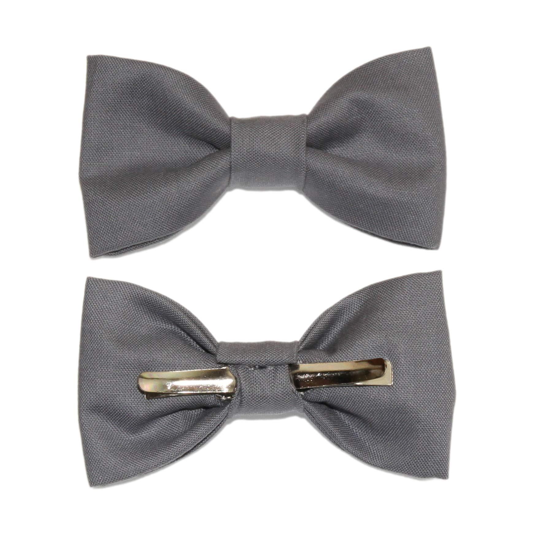 Toddler Boy 4T 5T Steel Gray Clip On Cotton Bow Tie Dark Gray Bowtie