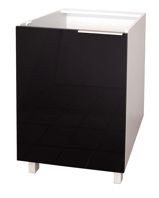 Black High Gloss Kitchen Doors Berlenus Ce8bn Kitchen Sink Base Cabinet 80 Cm High Gloss Black