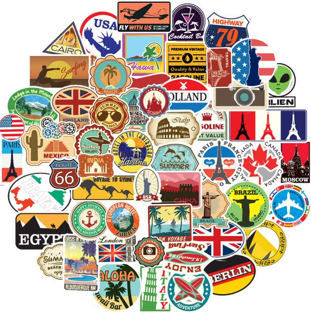 HCNOCNB Travel Stickers of World Famous Tourism Country and Regions Logo for Travel Map National Flag,Waterproof Decals for Luggage,Suitcase,Book Covers,Laptop,Phone(100pcs)