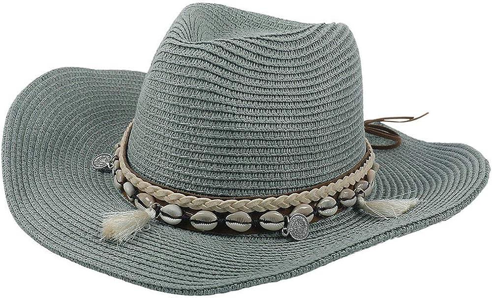 NOBRAND 2020 Mujeres Floppy Sun Hat Wide Brim Plegable Summer Beach Stone Hecho a Mano Straw Cap con Shell Chain UV Hat