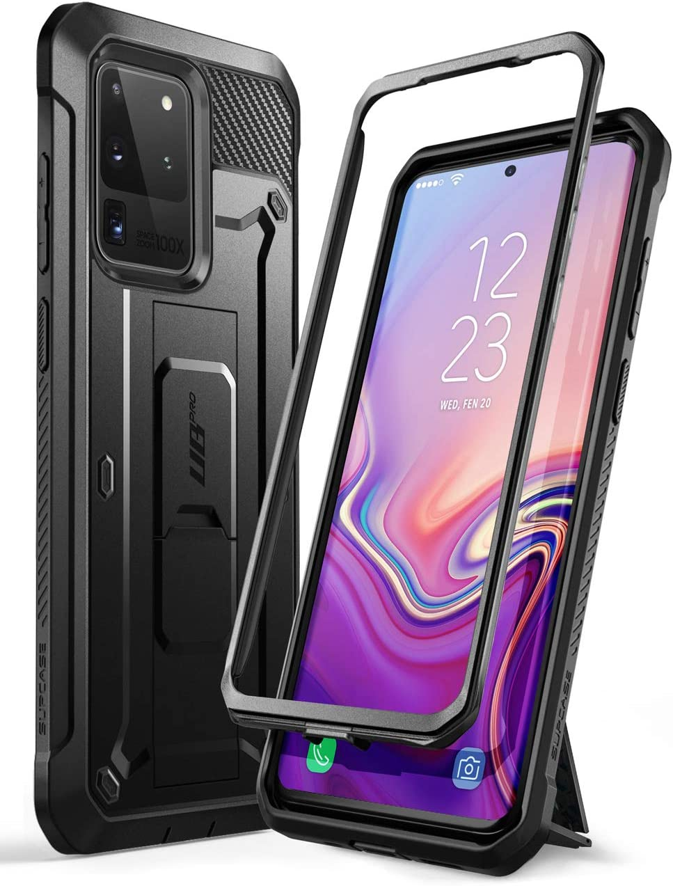 Full-Body Dual Layer Rugged Holster /& Kickstand Case Without Built-in Screen Protector 2020 Release SupCase UB Pro Series Designed for Samsung Galaxy S20 Ultra // S20 Ultra 5G Case Black