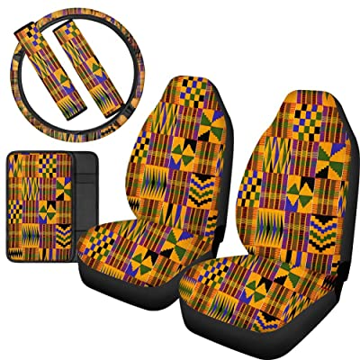 JoyLamoria African Native Tribal Design Universal 6-Pack Car Seat Covers Full Set Front Seats Protector with 2 Shoulder Safety Belt Cover 1 Steering Wheel 1 Armrest Cover: Automotive