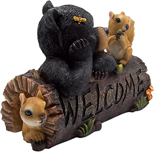 Wowser Decorative Outdoor Squirrel and Bear on Log Welcome Statue