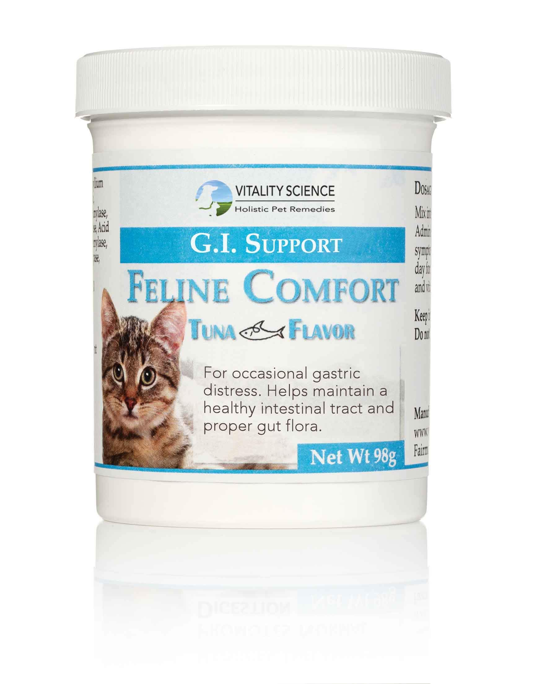 Vitality Science Feline Comfort for Cats | Maintains a Healthy Intestinal Tract and Proper Gut Flora | Restores Gastric Distress | for Vomiting and Diarrhea | 100% Additive Free (Seafood, 98g) by Vitality Science