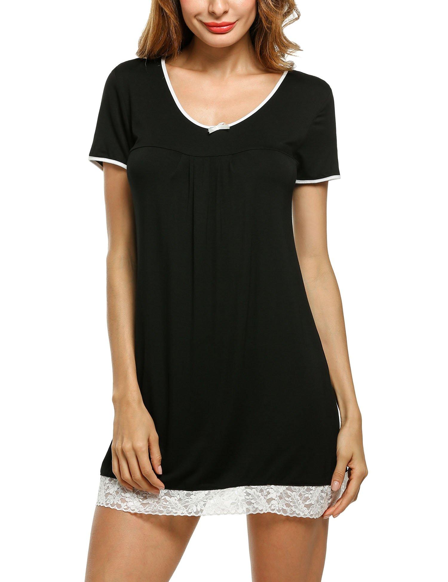 Hotouch Women's Nightgown Cotton Nightwear Loose Short Sleeve Sleepwear Black L