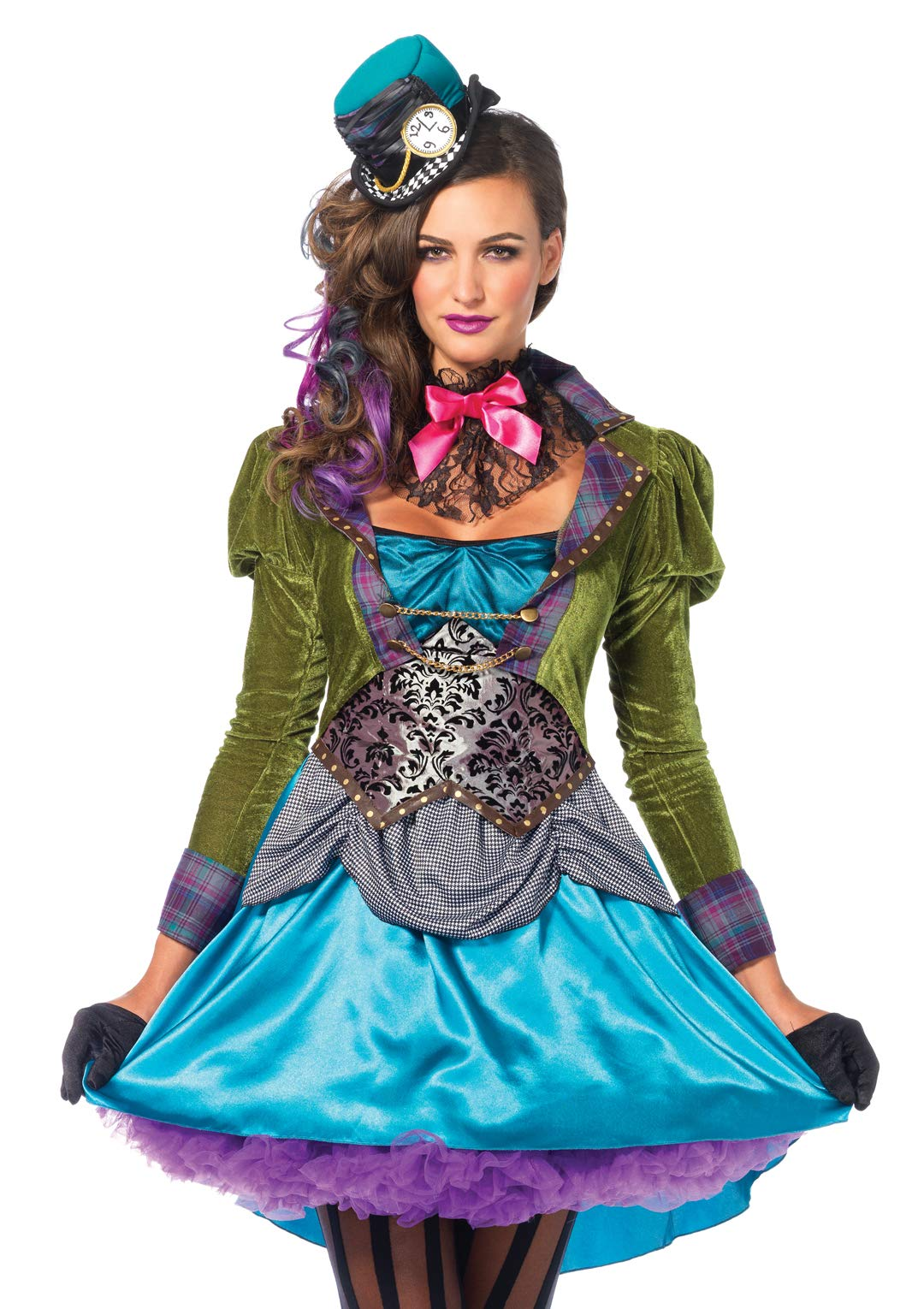 Leg Avenue Women's 3  Piece Deluxe Mad Hatter Costume, Multi, Large