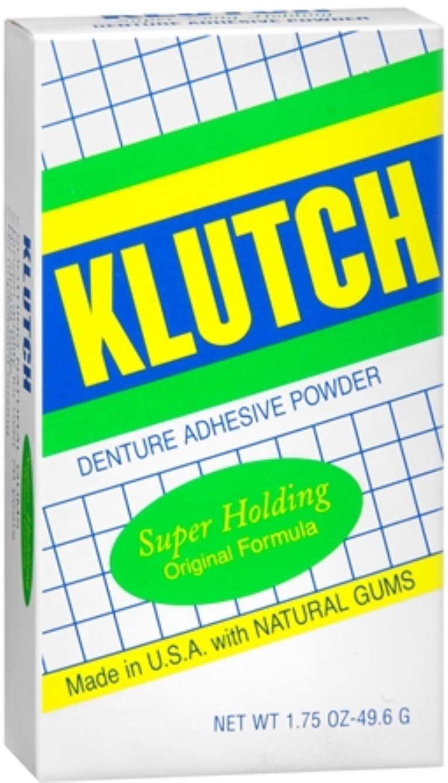 Klutch Denture Adhesive Powder Super Hold 1.75 oz (Pack of 4)