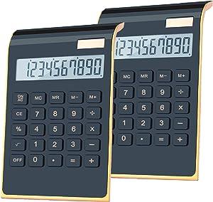 Office Calculator,BESTWYA 10-Digit Dual Power Business Handheld Desktop Calculator for Office Student (New Black,Pack of 2)