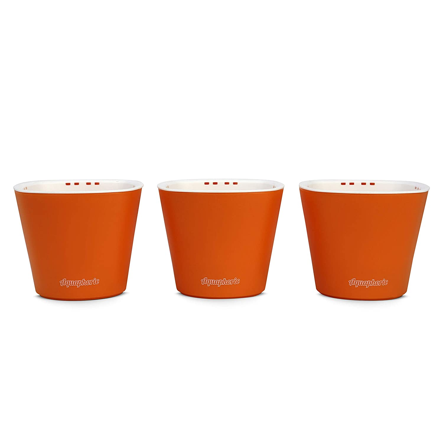 Window Garden Aquaphoric Self Watering Mini Planter Pots 3 Pack Grow On Indoor Sill. Perfect for Potting Small Plants, Herbs, African Violets, Succulents, or Start Seedlings. Orange Matte