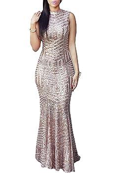 LOSRLY Womens Glitter High Split Sequin Maxi Long