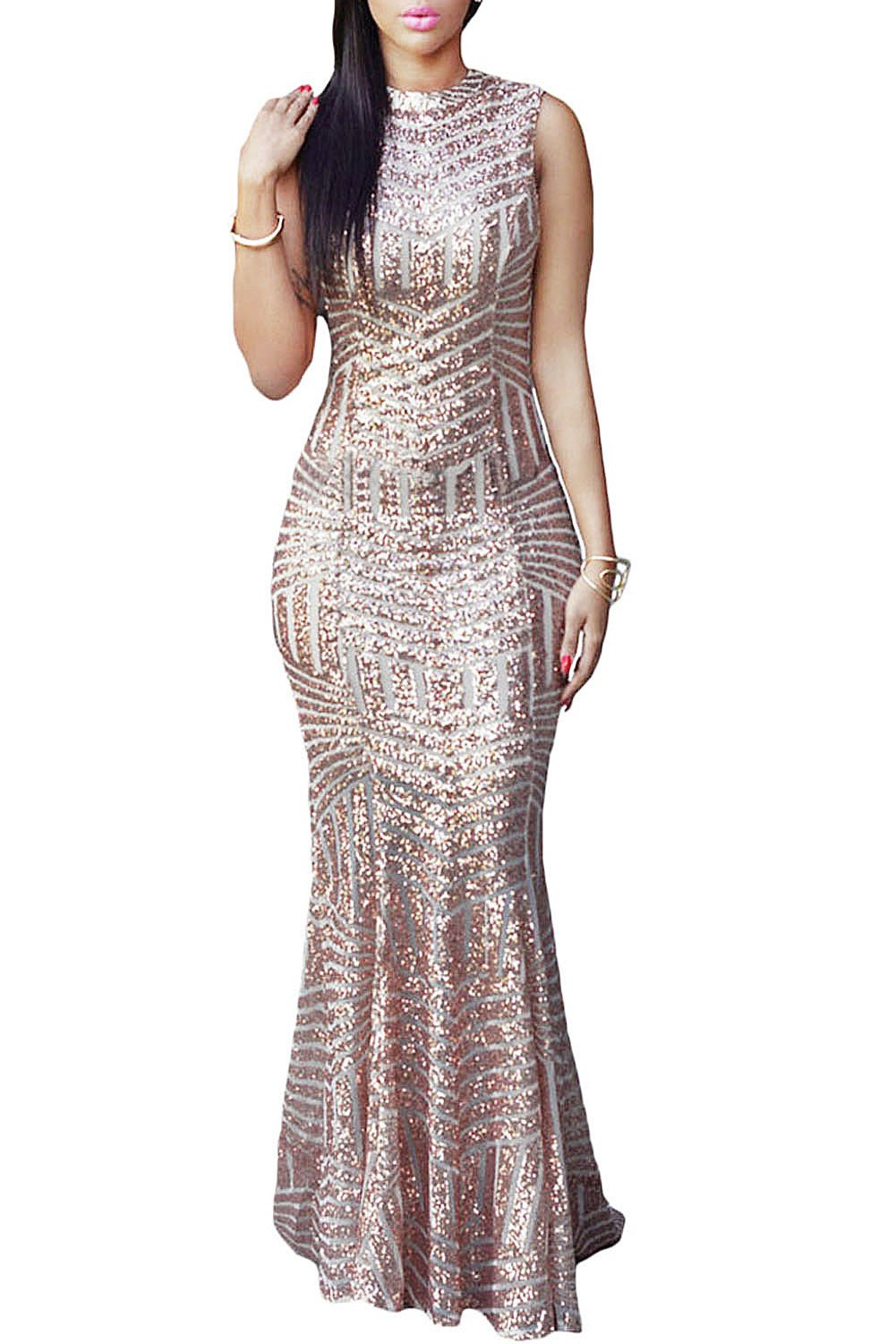 LOSRLY Womens Sequin Maxi Long Party Cocktail Club Formal Evening Prom Mermaid Dress Prime Gold M 8 10