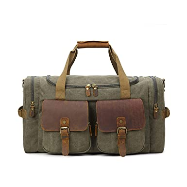 70976b2e1d Canvas Duffle Bag Travel Luggage Bag Weekend Overnight Shoulder Bag (Army  Green)