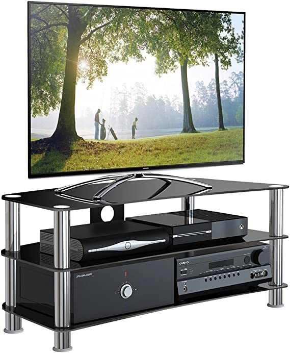 1home Soporte Vidrio Templado Negro de TV para 32-70 Pulgadas 120 cm de Ancho de plasma/LCD/LED/3D Curvo: Amazon.es: Electrónica