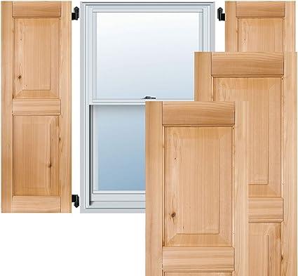 Ekena Millwork RWR12X027UNP Exterior Real Wood Pine Raised Panel Shutters Per Pair 12W x 27H Unfinished