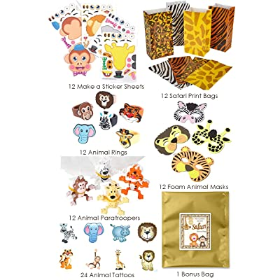 84 Piece Zoo Animal Safari Theme Birthday Party Favor Bundle Pack for 12 Guests (12 Masks, 12 Safari Print Bags, 12 Rubber Rings, 24 Tattoos, 12 Make a Sticker Sets, 12 Paratroopers): Toys & Games
